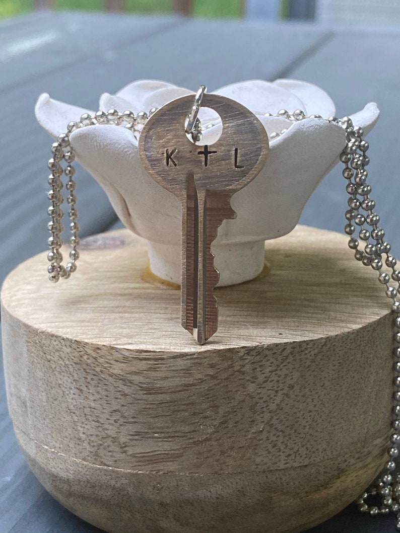 CUSTOM initial stamped key necklace