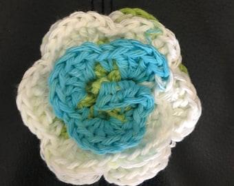 Aqua, lime green & white forever flower
