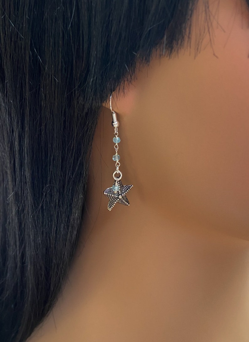 Sea Life Earrings Aquamarine gemstone earrings Dainty Jewelry Antique Silver Starfish Earrings Beach Jewelry Starfish Earrings
