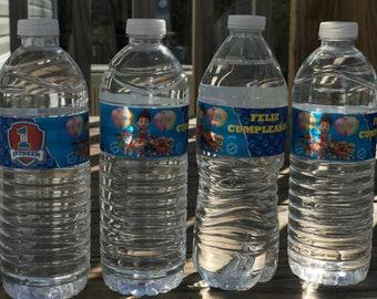 12 Water Bottle Labels. 12 Etiquetas para Botellas de Agua.