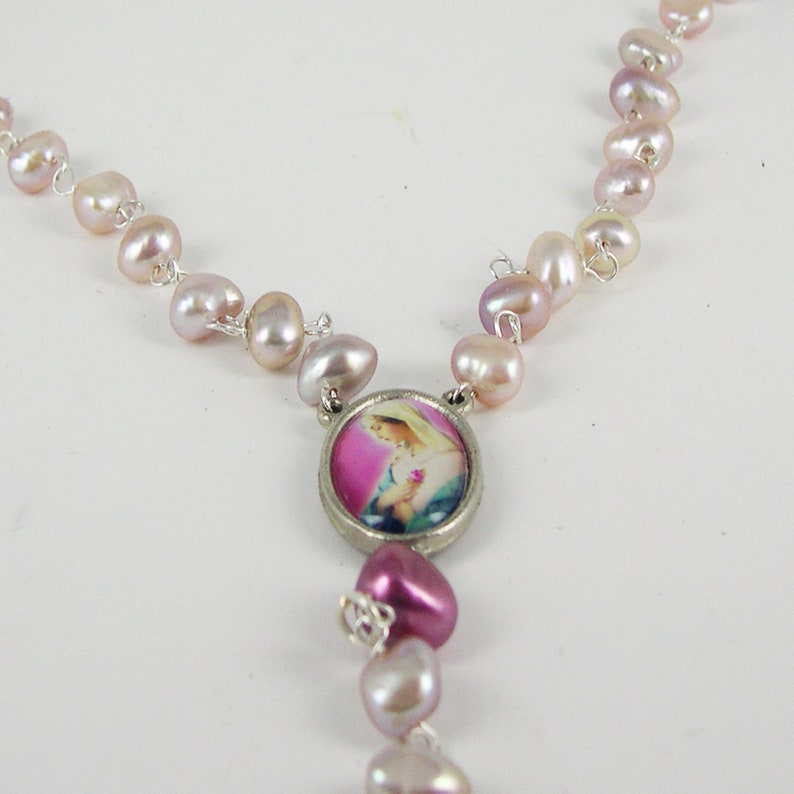 Madonna Rosary Necklace with Pearls
