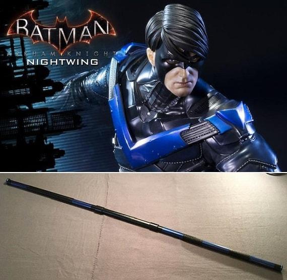 Nightwing 5/' 5 collapsible Bo staff  escrima sticks Metallic Blue leather grip costume cosplay Teen Titans Deathstroke Batman slade Robin