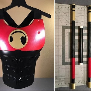 Red Nightwing COMBO SET chest body armor and escrima sticks staff Red Hood Robin Batman Slade Teen Titans comics costume cosplay Deathstroke