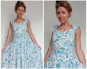 Laura Ashley Vintage Retro Ditsy Fine Chiffon Ruffled Neckline Summer Dress 8UK