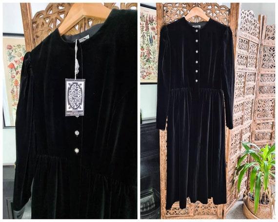 Vintage Marion Donaldson Black Velvet Midi Dress S