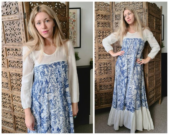 Vintage 1970s Indian Cotton Cheesecloth Maxi Dress