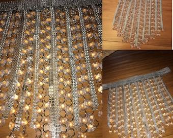 Beaded crystal fringe skirt