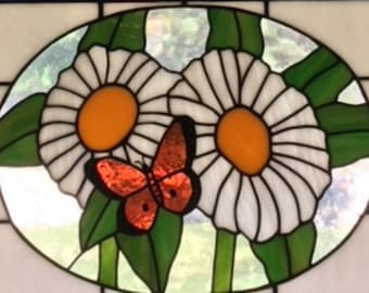 Butterfly with Daisies Stained Glass Pattern-Digital Download