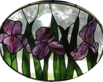Iris Ladybug Stained Glass Pattern-Digital Download