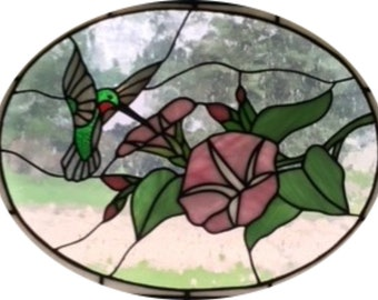 Hummingbird with Flowers Stained Glass Pattern-Digital Download