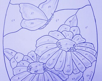 Stained Glass Pattern Butterfly With Daisies-Digital Download