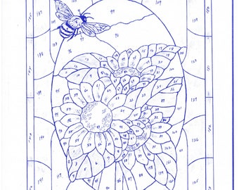 Stained Glass Sunflower & Bee Pattern Digital Copy