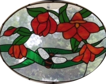 Bee and Flowers Stained Glass Pattern-Digital Download