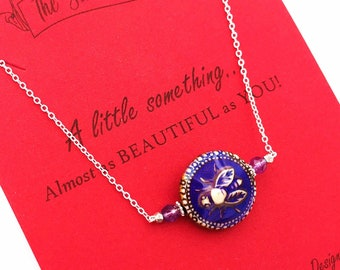 Color Changing Bee Custom Birthstone Sterling Silver Necklace+Cheer Me Up Gift+Thoughtful /& Meaningful Jewelry+Handmade-Xhristmas Gift