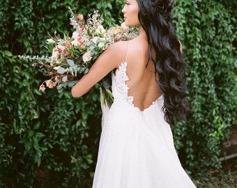 3ed2ac2ae71 Boho Beach Wedding Dress with Low Back