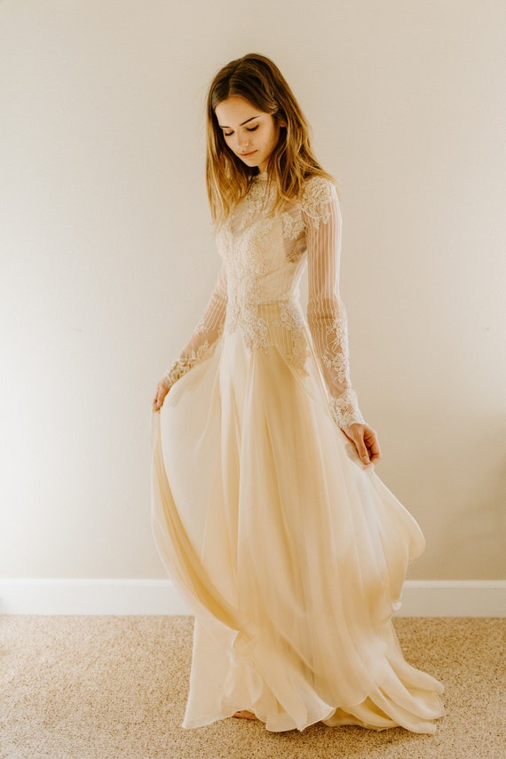 Leah Beaded Lace Wedding Dress Antique Wedding Dress Boho Etsy