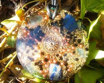 Sacred Geometry Orgone Energy Pendant Necklace Reiki Infused Lapis Lazuli Green Fluorite Black Tourmaline