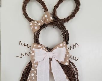 Grapevine Bunny Wreath - White & Natural