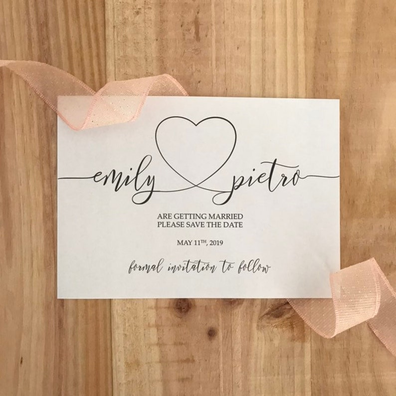 Heart save the date calligraphy  Wedding save the date image 0