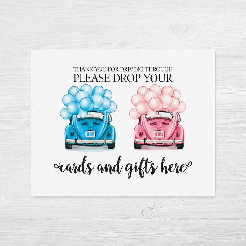 Drive baby shower sign Drive through baby shower cards and gifts sign Gender reveal parade sign Social distancing Quarantine