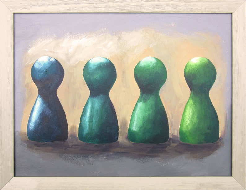 Still life acrylic painting of four pawns framed artwork in a image 0