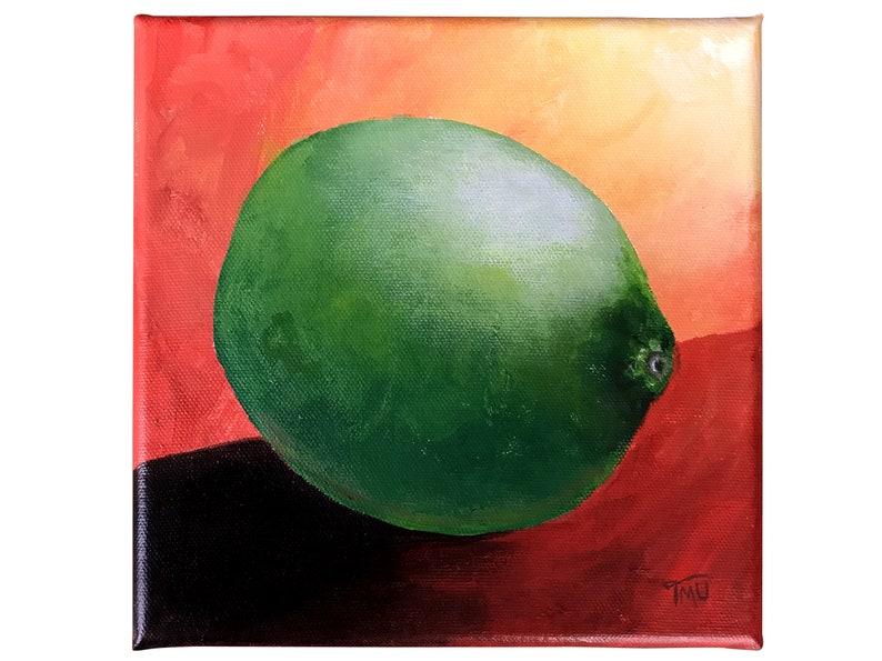 Colorful painting of a lime fruit cheerful and modern artwork image 0