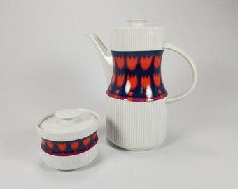 Vintage Coffee Pot Sugar Bowl Orange Tulips Flammfest Thomas Germany