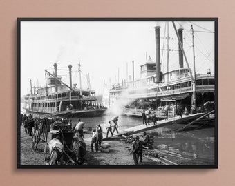 A Mississippi River landing in Memphis, Tennessee, 1906, Vintage Art Photo Print
