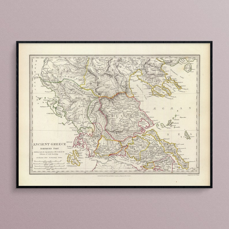 photo relating to Printable Map of Ancient Greece identified as Map of the Northern Element of Historic Greece towards 1829, Artwork Poster Print