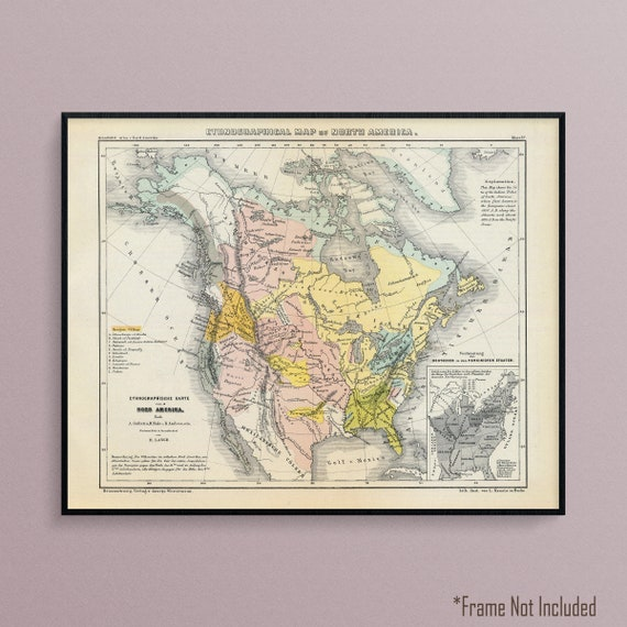 Ethnographic Map of North America, Showing Native American Tribal  Territories, Historic Map Poster Print