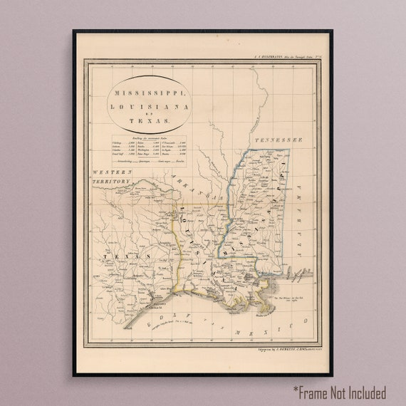 Map Of Texas Louisiana And Mississippi From 1851 Etsy