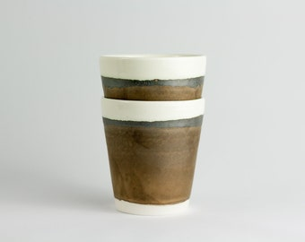 Copper coated porcelain cups