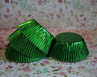 50 Green Foil Standard Cupcake Liners, Baking Cups, Party, Wedding