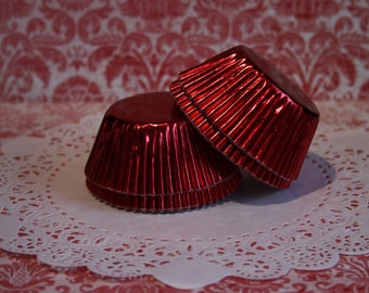 50 Red Foil Standard Cupcake Liners, Baking Cups, Party, Wedding