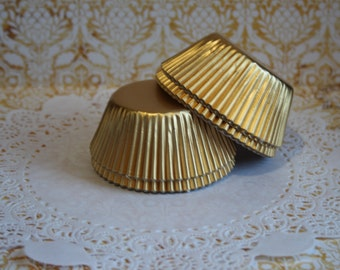 50 Gold Foil Standard Cupcake Liners, Baking Cups, Party, Wedding
