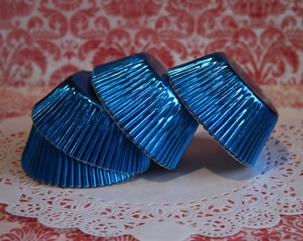 50 Royal Blue Foil Standard Cupcake Liners, Baking Cups, Party, Wedding