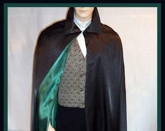 Men's Satin Cape Black Green Satin Villain or Hero Long Cloak REVERSIBLE Handmade USA Cosplay S to XXL