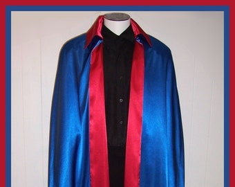 Men's Satin Cape Red Blue Satin SuperHero Long Cloak REVERSIBLE Handmade USA Parade Cosplay S to XXL