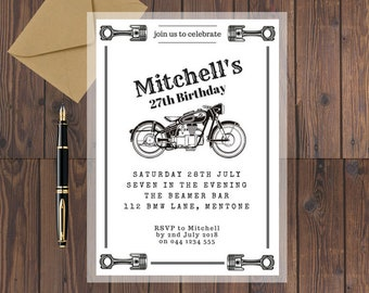 Motorcycle Birthday Invitation / Printable Birthday Invitation / Birthday Invitation Template