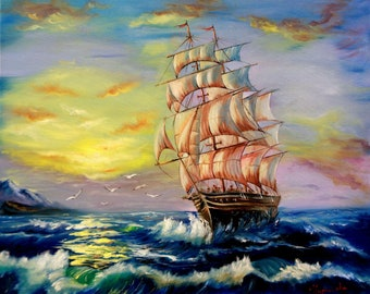 oil painting original  the ship sails on the waves towards the sunset, oil on canvas