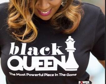 Black queen chess piece tshirt
