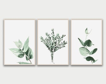 Set of 3 Prints, Eucalyptus Print, Botanical Wall Art, Eucalyptus Leaves, Eucalyptus Branch, Botanical Print Home Decor, Minimalist Poster