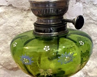 Glazed top oil lamp. Renovated. In working condition.