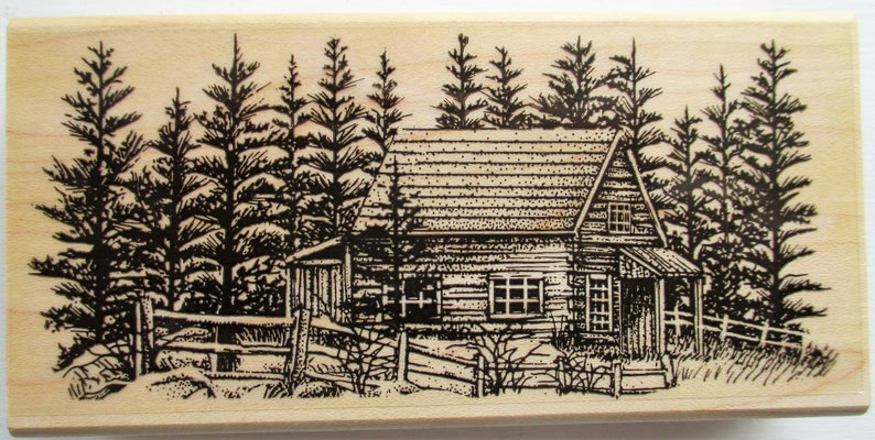Log Cabin in woods with Fence Rubber Stamp
