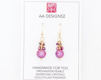 Purple Freshwater Pearls, Swarovski Crystal on Gold Earrings
