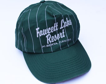 5f150abc389 Vintage Green and White Fawcett Lake Resort Stripy Baseball Cap
