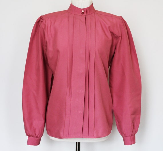 Gorgeous Vintage 80s Rouge Pink Pleated Blouse, Si