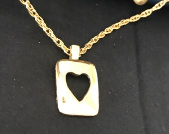 1960's Heart Pendant Goldtone Necklace - never used