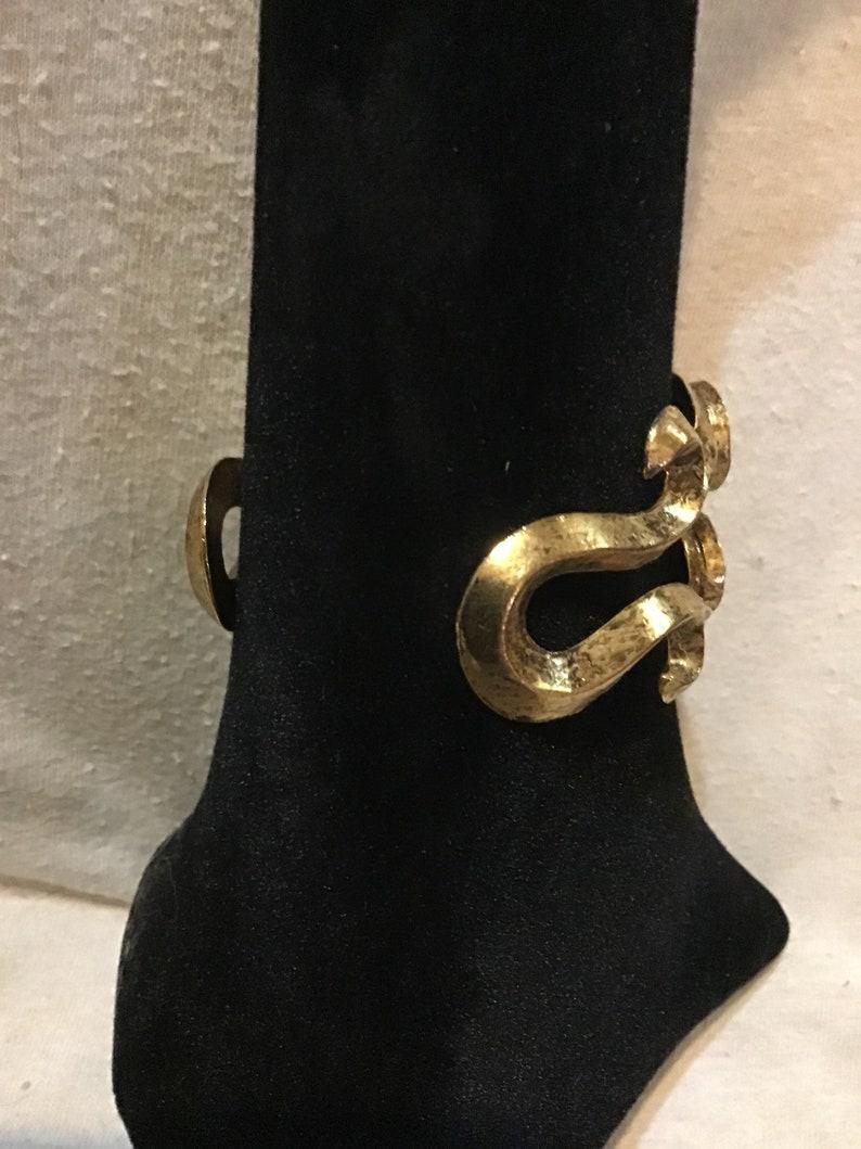 Retro Vintage Jewelry Vintage 1980/'s JEWELS BY BARBE Jade Ornate Cuff Bracelet