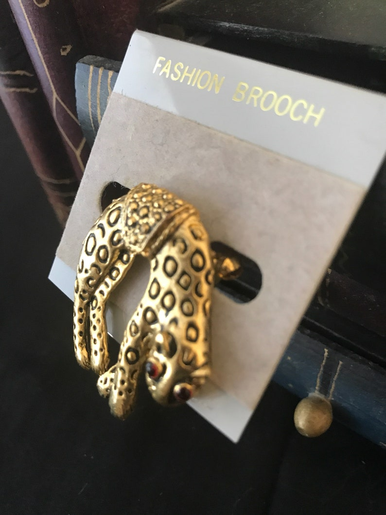 Fabulous Elegant and Whimsical Cheetah Brooche with Ruby Crystals for Eyes Never Worn
